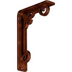 """Fleur-de-lis 1.5""""W x 5.5""""D x 8""""H Countertop Bracket - Iron/Steel Antiqued Copper"""