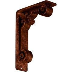 """Fleur-de-lis 2""""W x 5.5""""D x 8""""H Countertop Bracket - Iron/Steel Antiqued Copper"""