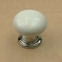 Nordic II 1-3/8 Inch Diameter Polished Chrome/White Cabinet Knob <small>(#27417-26WT)</small>