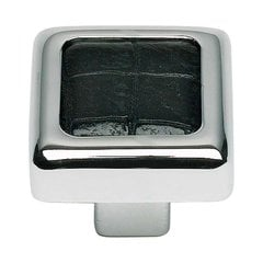 Paradigm 1-1/4 Inch Diameter Chrome/Black Croco Cabinet Knob