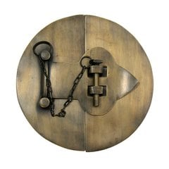 "Large Plain Round Latch with Chain 6"" Dia - Antique Brass"