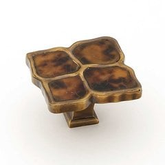 Tiger Penshell 1-1/2 Inch Diameter Estate Dover w/ Tiger Penshell Inlay Cabinet Knob
