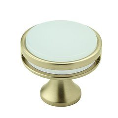 "Oberon Knob 1-3/8"" Dia Golden Champagne/Frosted Acrylic"