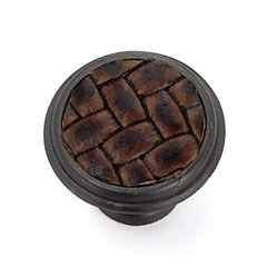 Churchill 1-1/8 Inch Diameter Oil Rubbed Bronze/Brown Leather Cabinet Knob