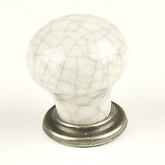 Nordic 1-3/16 Inch Diameter Antique Pewter/Grey Crackle Cabinet Knob