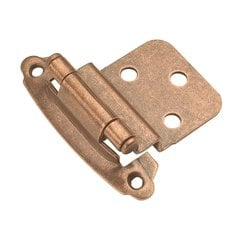 "3/8"" Inset Surface Mt. Hinge Pair Antique Copper Self Close <small>(#P243-AC)</small>"