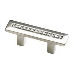 SkyeVale 1-1/4 Inch Center to Center Satin Nickel With Crystals Cabinet Pull
