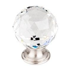 Crystal 1-3/8 Inch Diameter Clear Crystal Cabinet Knob <small>(#TK126BSN)</small>