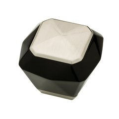 Kaley 1-3/8 Inch Diameter Black/Stainless Cabinet Knob