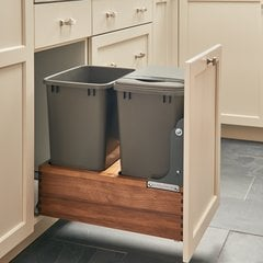 4WC Double Trash Pullout W/ One Lid 35 Quart Walnut/Gray