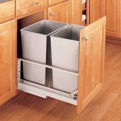 Rev-A-Shelf Double Trash Pullout 32 Quart-Stainless Steel 5349-18DM-2SS