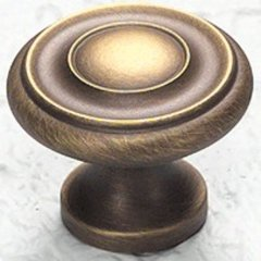 Solid Brass Traditional Designs 1-1/4 Inch Diameter Antique Light Brass Cabinet Knob <small>(#703-ALB)</small>