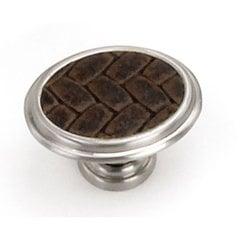 Churchill 1-5/8 Inch Diameter Satin Nickel/Brown Leather Cabinet Knob <small>(#12190)</small>