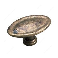 Povera 1-3/8 Inch Diameter Oxidized Brass Cabinet Knob <small>(#24463163)</small>