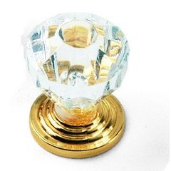 Kristal Knob 1 inch Diameter Acrylic with Brass Base
