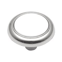 Tranquility 1-1/4 Inch Diameter White Porcelain with Chrome Cabinet Knob <small>(#P710-CH)</small>