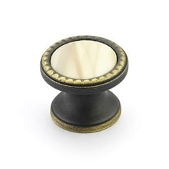 "Kingsway Round Knob 1-1/4"" Dia Ancient Bronze/Almond Glass"