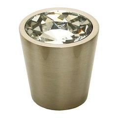 Fire 1-1/16 Inch Diameter Clear Crystal/Satin Nickel Cabinet Knob