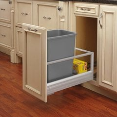 Single Trash Pullout 35 Quart-Silver