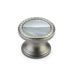 "Kingsway Round Knob 1-1/4"" Dia Antique Nickel/Greystone <small>(#20-AN-GS)</small>"