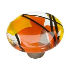 Ice 1-1/2 Inch Diameter Confetti/Orange Cabinet Knob