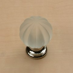 Tahoe 1-1/4 Inch Diameter Frosted/Polished Chrome Cabinet Knob