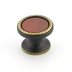 Kingsway Round Knob 1-1/4 inch Diameter Ancient Bronze /Scarlet Glass