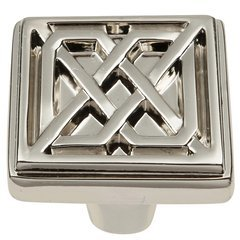 Celtic Square Knob 1-1/4 inch Diameter Polished Nickel