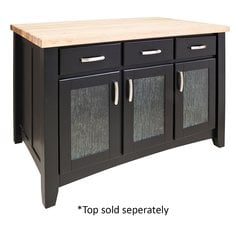 52 inch Contemporary Kitchen Island with o Top - Black