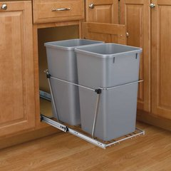 Double Trash Pullout 35 Quart-Silver