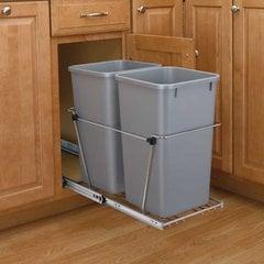 Double Trash Pullout 35 Quart-Silver