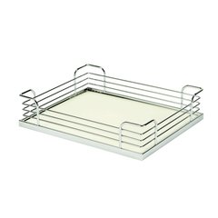 "Arena Plus Chefs Pantry Back Tray Set 14-7/8"" W Chrome/White"