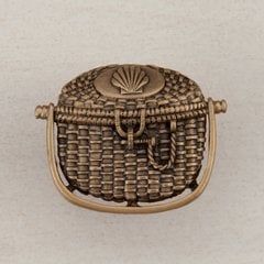 Nantucket Basket Knob 1-3/8 inch Diameter Museum Gold