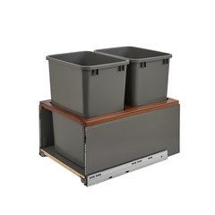 Legrabox Double Trash Pullout 35 Quart Walnut/Gray