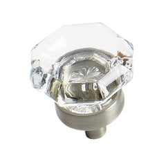 Traditional Classics 1 Inch Diameter Clear Glass/Satin Nickel Cabinet Knob