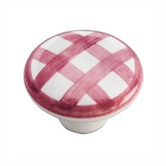 English Cozy Knob 1-1/2 inch Diameter White and Red Checker