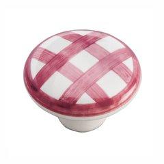 "English Cozy Knob 1-1/2"" Dia White and Red Checker <small>(#P2180-WRCK)</small>"