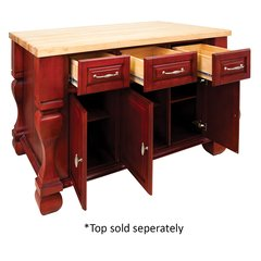 "Jeffrey Alexander 53"" Tuscan Kitchen Island w/o Top - Brilliant Red ISL01-RED"