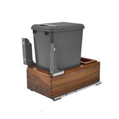 4WC Single Trash Pullout W/ Lid 35 Quart Walnut/Gray