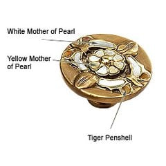 Heirloom Treasures 1-1/2 Inch Diameter Antique Brass/Penshell/Mother of Pearl Cabinet Knob