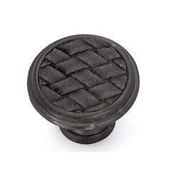 Churchill 1-1/8 Inch Diameter Oil Rubbed Bronze/Black Leather Cabinet Knob