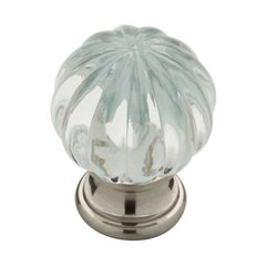 Design Facets 1-1/4 Inch Diameter Satin Nickel & Clear Cabinet Knob