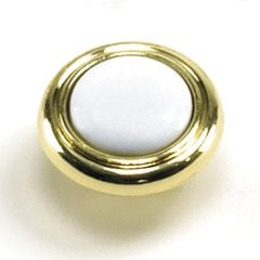 First Family 1-1/4 Inch Diameter White/Polished Brass Cabinet Knob <small>(#15443)</small>