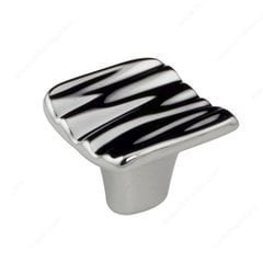 Striated 1-5/16 Inch Diameter Chrome Cabinet Knob