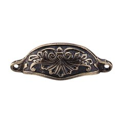 Chateau 3-15/16 Inch Center to Center Dark Antique Brass Cabinet Cup Pull <small>(#M62)</small>