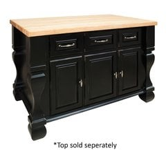 53 inch Tuscan Kitchen Island with o Top - Distressed Black