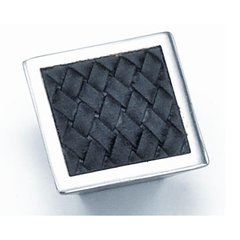 Churchill 1-5/8 Inch Diameter Satin Nickel/Black Leather Cabinet Knob <small>(#12293)</small>