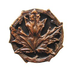 Leaves 1-1/4 Inch Diameter Antique Copper Cabinet Knob <small>(#NHK-146-AC)</small>