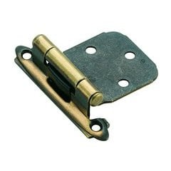 Variable Overlay Hinge 2-1/16 Inch Width - Antique Brass - Pair