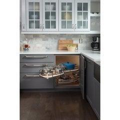 18 Inch Blind Corner Swing Out Left Handed Unit - Walnut Shelves, Chrome Edges